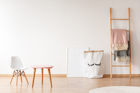 White chair and pink table