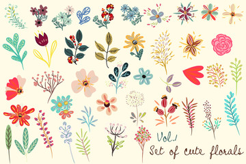 Collection of vector cute florals in rustic simple style. Great for fabric designs
