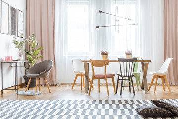 Wooden chairs in flat interior