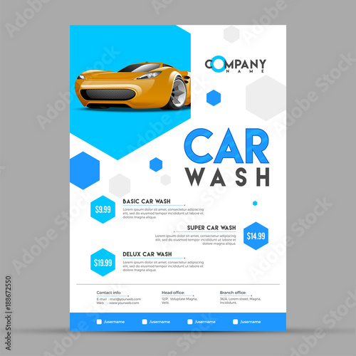 car wash service banner poster flyer or rate card design for your