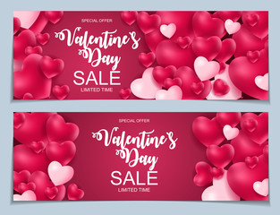 Valentines Day Sale, Discont Card. Vector Illustration