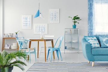 Blue flat interior with gallery