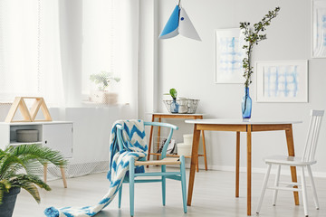 Blue daily room interior