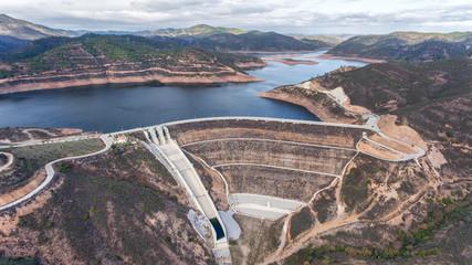 Aerial. Reservoir dam Odelouca of drinking water in Algarve region of Portugal. Monchique.