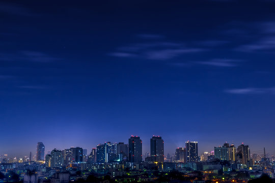 night city with copy space.