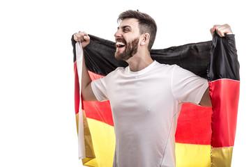 German male athlete / fan celebrating on white background