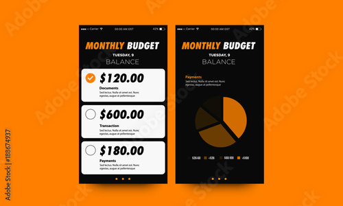 Monthly Budget App Ui Ux Screens With Pie Chart Stock Image And