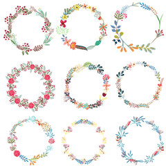 Set of vector frames from wreath