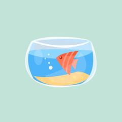 Cute fish in aquarium, vector illustration flat icon