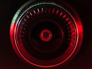 The camera lens with colored light, close photos,