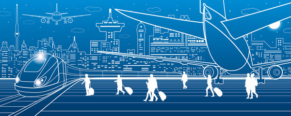 Airport illustration. Passengers go to the train. Aviation travel transportation infrastructure. The plane is on the runway. Night city on background, vector design art