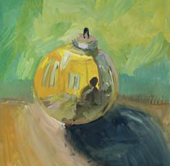 Gold glass ball Still LIfe