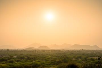 Landscape near Jawai at sunset, Rajasthan