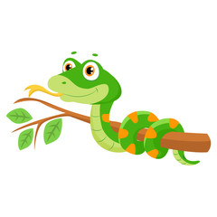 Vector Illustration Of Cute Green Smiles Snake On Branch. Cartoon Vector Reptile Isolated On White Background. Non Venomous Snake.