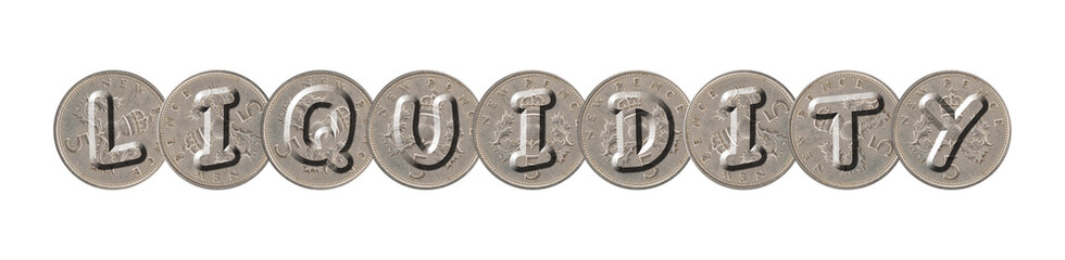 LIQUIDITY – Old coins on white background