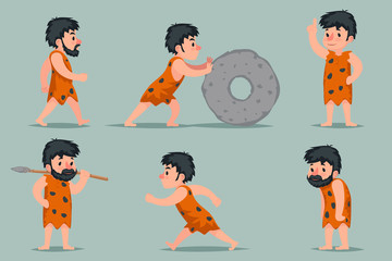 Ancient Cave Man Character Different Positions and Actions Icons Set Cartoon Design Vector Illustration