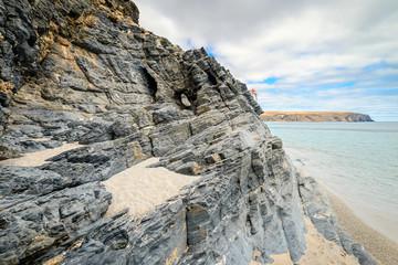 Man climbing up the rock