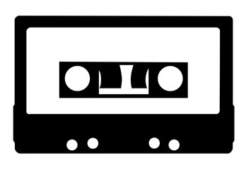 Vintage audiocassette black and white icon