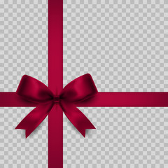 Red gift bow isolated.Realistic icon. Vector