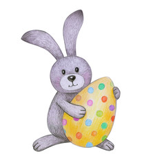 Cute  Easter bunny holding Easter egg isolated on white, hand drawing.
