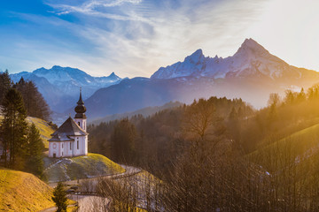 Wall Mural - Church of Maria Gern with Watzmann mountain at sunset, Berchtesgadener Land, Bavaria, Germany