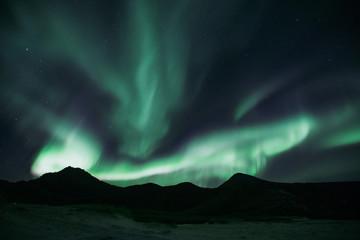 Norwegen   Polarlichter, Hauklandbeach auf den Lofoten