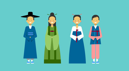 Asian People Wearing Traditional Dress Male And Female In National Korean Clothes Costumes Vector Illustration
