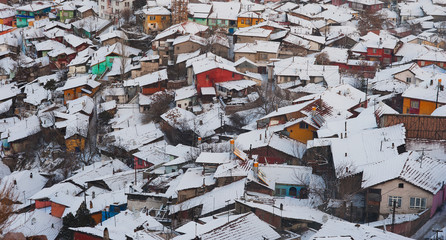 Winter Time Top View Snowy Shanty Town