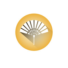 Hand Fan Icon Chinese Paper Souvenir Or Accesory Symbol Vector Illustration