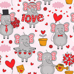 seamless pattern with elephant in love in color - vector illustration, eps