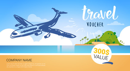 Travel Company Template Voucher With Airplane Flying Over Beautiful Tropical Beach Background Tourist Agency Poster Design Vector Illustration