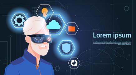 Virtual Reality Concept Portrait Of Senior Man Wearing Vr Headset Glasses Digital Goggles Flat Vector Illustration