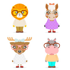Lion horse deer hippo cute animal boy girl cubs mascot cartoon icons set flat design vector illustration