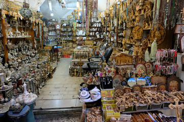 Souvenir store in Old City of Jerusalem.