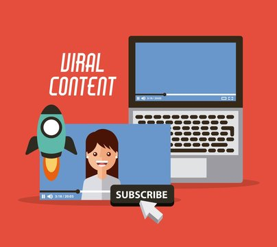 viral content video start launch suscribe digital vector illustration