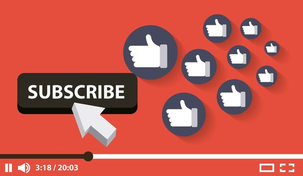 suscribe video digital likes followers vector illustration