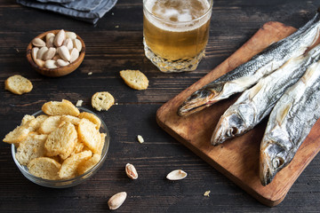 Assorted snacks for beer, dried fish.