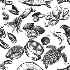 Seamless pattern of hand drawn sketch style seafood. Vector illustration isolated on white background.