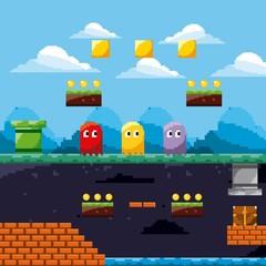 pixel game scene ghosts ground level treasure coins vector illustration