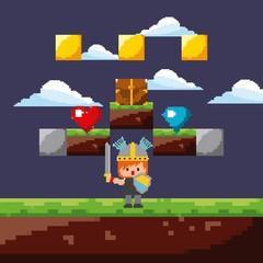 pixel game warrior sword shield night level scene vector illustration