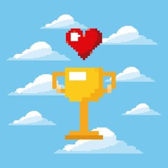 pixel game trophy and heart life prize play vector illustration