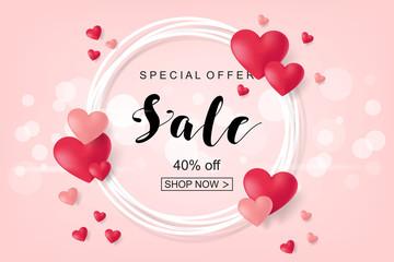 Creative Poster, Banner or Flyer design of Sale. Happy Valentine's Day celebration.
