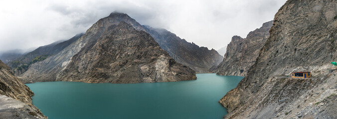 View of Pakistan country along the Hunza River from Hunza Valley to Pasu.