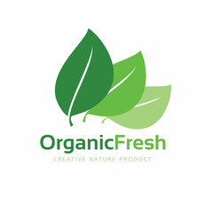 Organic logo. Green and natural product icons. Fresh food and eco product logo, Leaf and vector design element for healthy care brand identity. Vector Illustration.