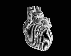 Engraving negative human heart style on dark BG