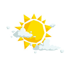 Sun with different clouds. Weather and summer, beach and travel cartoon icons. Vector illustration isolated on white background.