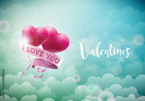 Happy Valentines Day Design with Red Balloon Heart and Typography