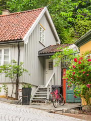 Damstredet, residential area of Oslo with old wooden houses. Landmark of Oslo, Norway capital