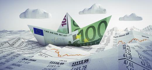 Euro-Papierschiff im Börsen-Meer