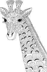 Portrait of a giraffe. Freehand sketch drawing for adult antistress coloring book